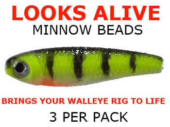 worm harness components Looks Alive Minnow fishing lure Beads GLOW CHARTREUSE PERCH