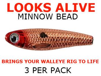 Looks Alive Minnow Beads METALLIC COPPER RED HEAD