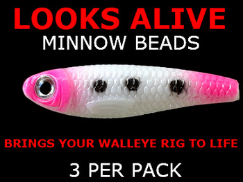 Looks Alive Minnow Beads WHITE/PINK MAGIC