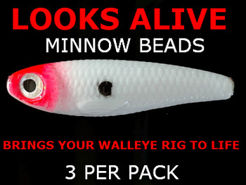 Looks Alive Minnow Beads WHITE w/RED HEAD