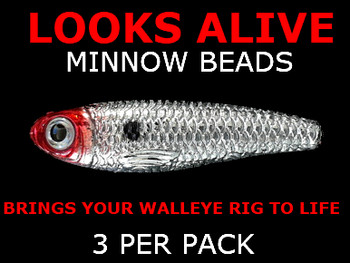 Looks Alive Minnow Beads METALLIC SILVER w/RED HEAD