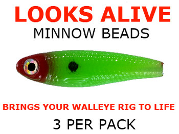 Looks Alive Minnow Beads NEON GREEN w/RED HEAD