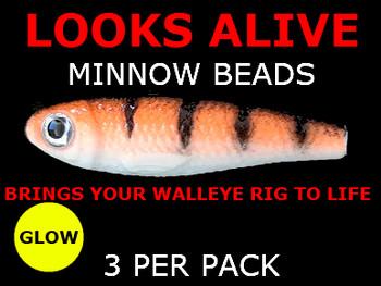 Looks Alive Minnow Beads GLOW ORANGE PERCH