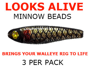 Looks Alive Minnow Beads BLACK GOLD SCALE w/CRYSTAL EYE