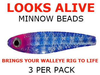 Looks Alive Minnow Beads TRANSPARENT BLUEBERRY TIGER