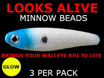 Looks Alive Minnow Beads GLOW w/ BLUE HEAD