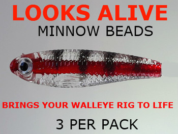 Looks Alive Minnow Beads CLEAR RED LINE PERCH