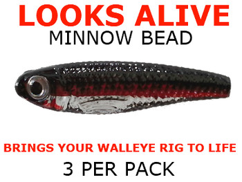Looks Alive Minnow Beads CLEAR REDLINE DACE