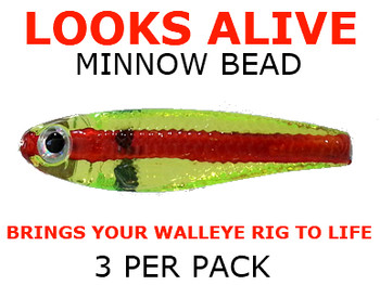 Looks Alive Minnow Beads CHARTREUSE REDLINE SHAD