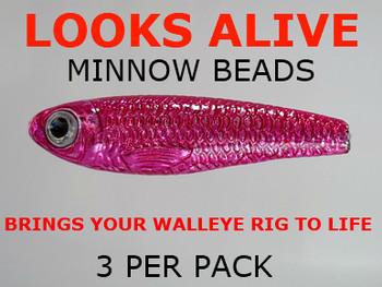 Looks Alive Minnow Beads METALLIC PINK
