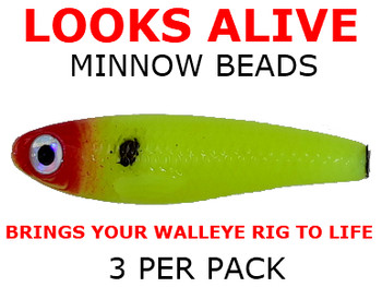 Looks Alive Minnow Beads CHARTREUSE w/RED HEAD