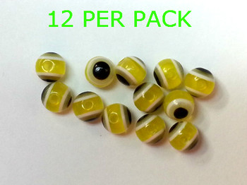 LURE BEADS WITH EYES 8MM YELLOW