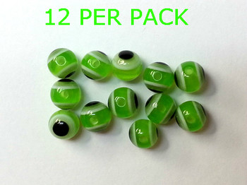 LURE BEADS WITH EYES 8MM GREEN