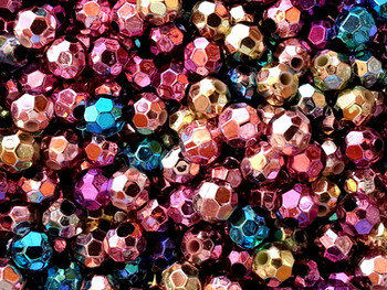 Beads 6mm Faceted ASSORTED METALICS