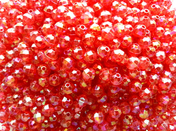 Beads 6mm Faceted TRANS.RASPBERRY AB