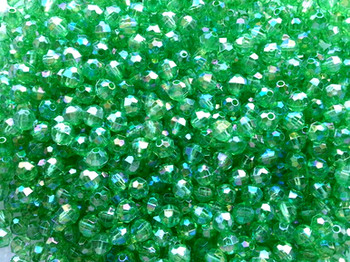 Beads 6mm Faceted TRANS.GREEN AB