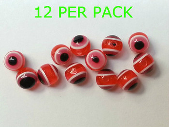 Lure Beads with EYES 8 mm SALMON RED