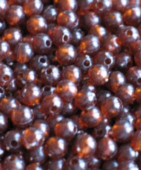 JT Custom Tackle 6mm Trans. Rootbeer Beads 100/PK