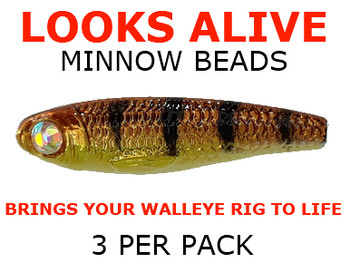 Looks Alive Minnow Beads BABY WALLEYE w/CRYSTAL EYE