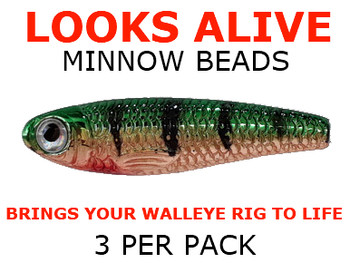 walleye spinner components Looks Alive Minnow Beads COPPER METALLIC GREEN PERCH