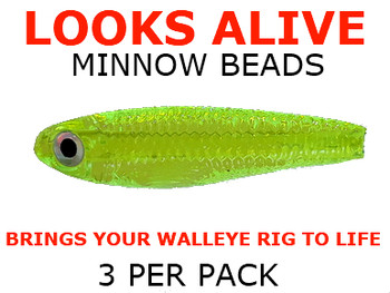 Looks Alive Minnow Beads TRANSPARENT CHARTREUSE for worm rigs