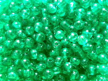 Green translucent fishing beads