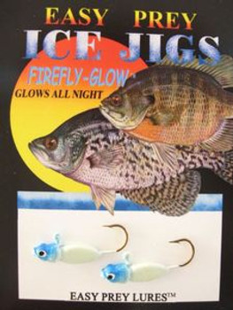 ICE FISHING JIGS #6 FREEZE MINNOW GLOW BLUE HEAD/ EASY PREY LURES