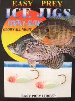 ICE FISHING JIGS #6 FREEZE MINNOW GLOW RED HEAD/ EASY PREY LURES