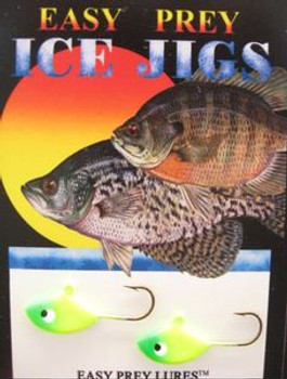 ICE FISHING LURES #6 SUNFISH JIG CHART AND GREEN/ EASY PREY LURES