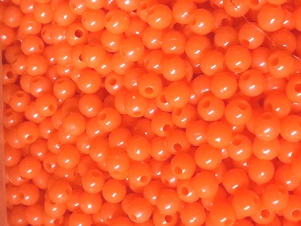 Fishing Beads Round 6mm BRIGHT ORANGE