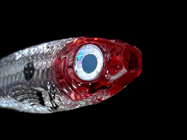 Looks Alive Minnow Beads TRANSPARENT CLEAR RED HEAD