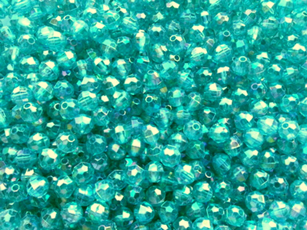 Beads 6mm Faceted TRANS.TURQUOISE AB
