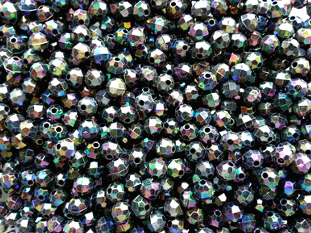 Beads 6mm Faceted BLACK AB