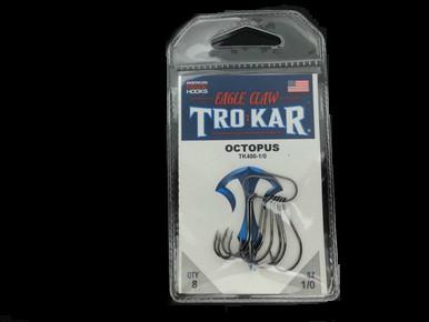 EAGLE CLAW TROKAR TK400 OCTOPUS HOOKS 8/pk- BLACK #1/0