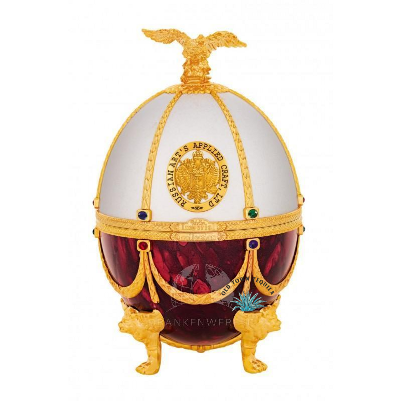 Imperial Collection Super Premium Vodka In Faberge Egg Red And White Old Town Tequila