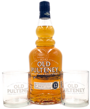 Old Pulteney Single Malt Scotch  Aged 12 Years with TWO glasses