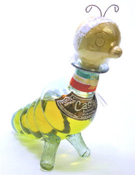 Casta Pasion Reposado Tequila Worm glass bottle.