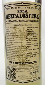 Mezcalosfera de Mezcaloteca Con Cacao Mezcal  label