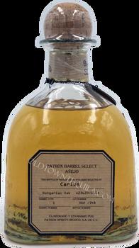 Patron Single Barrel  Hungarian Oak  Anejo Tequila back label