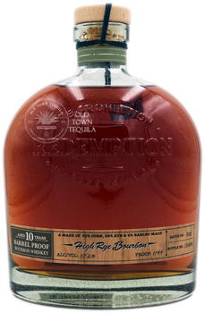 Redemption Pre-Prohibition Whiskey Revival High Rye Bourbon Aged 10 Years