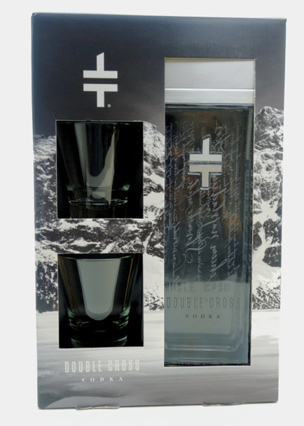 Double Cross Vodka with Glasses