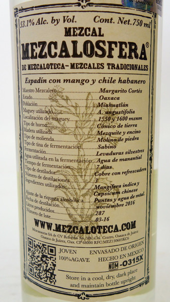 Mezcaloteca Espadìn Con Mango y Chile Habanero