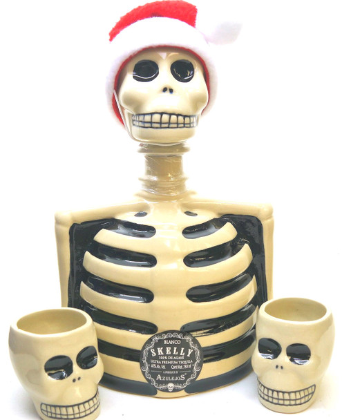 SKELLY SANTA BLANCO TEQUILA WITH TWO SHOTS
