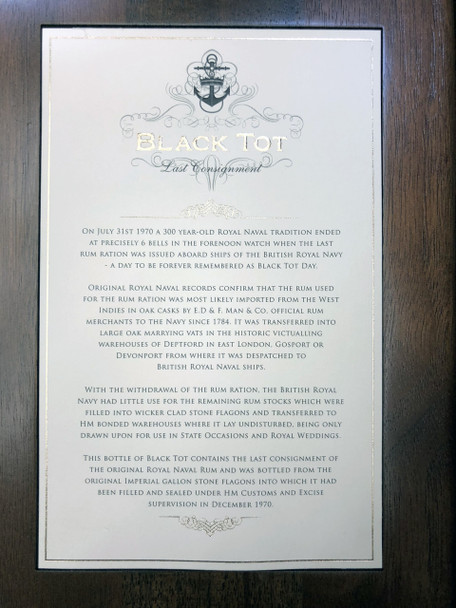 Black Tot Last Consignment British Royal Naval Rum Story Note