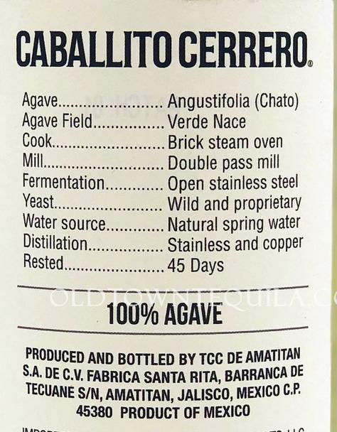 Caballito Cerrero Agave Chato Blanco 46 Label