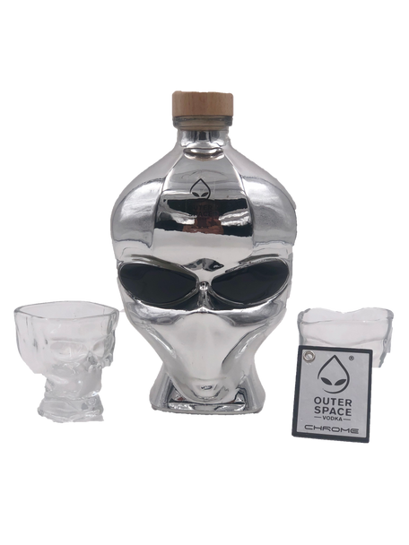 Outer Space Chrome Vodka with Set 2 shots Glasses