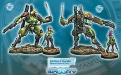 Infinity: Mercenaries Scarface and Cordelia. Armored Mercenary Team