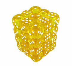 Chessex Dice: Translucent 12mm D6 Dice Yellow/White (36)