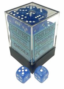 Chessex Dice: Borealis 12mm D6 Sky Blue/White/Black (36)