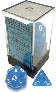 Chessex Dice: Frosted Polyhedral Caribbean Blue/White (7)